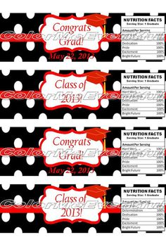 Customized graduation water bottle labels  or candy wrappers