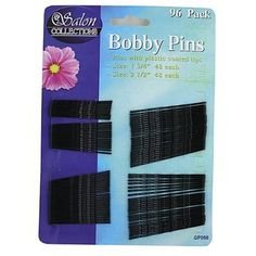 """100 Black bobby pins by FindingKing. $133.99. Bobby pins are a beauty must-have! Each set comes with 2 assorted sized bobby pins. Pins have a plastic coated tip for comfort. There are 96 bobby pins per card: 42 of each size. Comes packaged on a hanging card. Large bobby pins are nearly 2"""" long and smaller bobby pins are 1 1/2""""."""