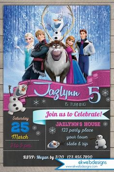 Frozen Birthday Invitation - Disneys Frozen birthday party Invitation