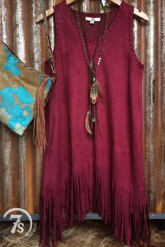 The Granada – wine faux suede fringe dress from Savannah Sevens Western Chic