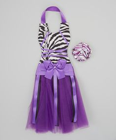 Take a look at this Purple & Black Zebra Tutu Bow Holder & Clip by Chicky Chicky Bling Bling on #zulily today!