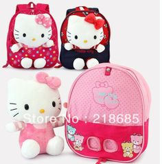 1-piece Retail New 2013 Baby Boy Girls Cartoon School Bag Children Hello Kitty Bag Backpack Kids Cute Bag