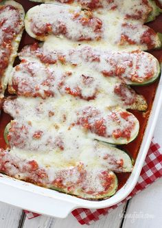 I told you I always craved pizza! These looked too good to share and could be turned into an entire meal! Halved zucchini are hollowed out, filled with chicken sausage and topped with marinara and cheese.