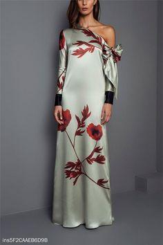 3f0cff5c Shoulder Long Sleeve Printing Temperament Maxi Dress