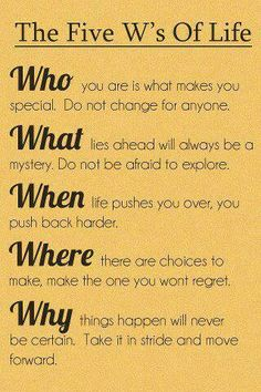5W's of Life