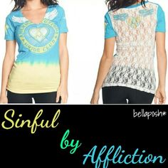 Affliction Lace Back Tee Gorgeous Hawaiian Ocean Blue and Banana DipDye Tee! Features rhinestones, short sleeves, v-cut, and an amazing lace design back. Brand new with tags, non smoking and pet free house Affliction Tops Tees - Short Sleeve