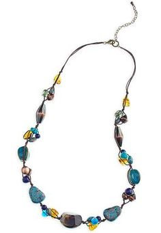 Long Beaded Cord Necklace
