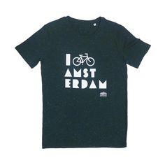 I Bike Amsterdam Melange Green Men T-shirt