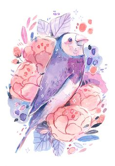 These are not actual finch colors, though I wish they were. 🌸 This print is offered as a They are printed on Premium Matte Epson paper. Cute Animal Drawings, Bird Drawings, Guache, Sketchbook Inspiration, Kawaii Art, Beautiful Drawings, Illustrations And Posters, Cute Art, Amazing Art