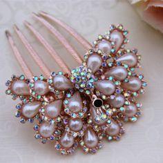 Mariée bijoux de mariage de mode accessoires pour cheveux peigne strass paon perle l'impression, tuck ab