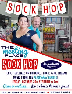 Hear the Pea Pickin' Hearts at the Sock Hop at The Meeting Place in Morristown, TN on Friday, October 30th starting at 7pm!