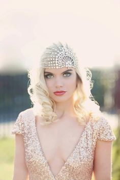Beautiful Art Deco bridal accessories and headpieces by Gibson Bespoke with an Old Hollywood Glamour feel. Plus a gold sequin wedding dress. Great Gatsby Wedding, 1920s Wedding, Gatsby Party, 1920s Party, Glamorous Wedding, 1920s Headpiece, Great Gatsby Headpiece, Headdress, Bohemian Headpiece