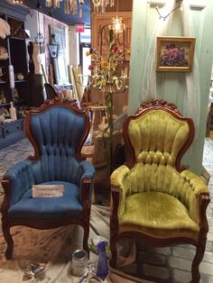 We do a lot of custom paint jobs at Maison Decor.   One of the current projects in house is a pair of Victorian chairs   with velvet uphol...