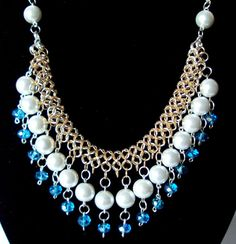 statement necklace bib necklace chainmaille necklace by NezDesigns, $60.00