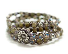 Labradorite and crystal five wrap Macrame Bracelet by GemsdeVine, $49.99