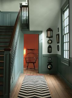 Favorite Paint Colors ~ The New Williamsburg Collection from Benjamin Moore Benjamin Moore's Williamsburg Collection >> All colors using Aura Interior, Matte Finish: Palace Pearl (walls), Wythe Blue (stairs & wainscoting) and Claret (back hall). Painted Wainscoting, Dining Room Wainscoting, Wainscoting Ideas, Black Wainscoting, Wainscoting Height, Wainscoting Panels, Wainscoting Nursery, Rustic Wainscoting, Wythe Blue