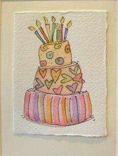 Watercolor Card Sweet Birthday  Handpainted  by betrueoriginalart