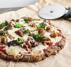 Zero Net Carb Flax & Parmesan Pizza Crust    Only 3 ingredients! And, it's completely (net) carb free since the flax's only carbs are from fiber. It's also made with whole ingredients that are good for you.