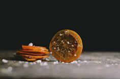 Candied blood orange chips with maldon sea salt flakes and fennel