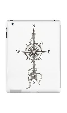 """""""Compass with arrow"""" iPad Cases & Skins by #Beatrizxe. Design inspired in tattoo style. A compass is pierced by an arrow #compass #Windrose #arrow #tattoo #illustration #shadow #draw #artwork #art #artist #creative #inspiration #ink #design #tattoo #tattoodesign #creativity #lineart"""