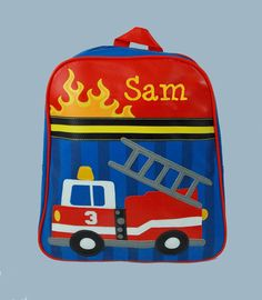 "Preston's new personalized pre-school Firetruck backpack and lunchbox set! By Stephen Joseph ""GoGo Backpack"" holds a standard-size folder!! ~J"