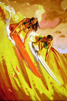 Showcase of surfing and surf culture-inspired art by artist Ron Croci on Club of the Waves Posca Art, Hawaiian Art, Surfboard Art, Surf Style, Surf Girls, Ocean Art, Beach Art, Ocean Beach, Storyboard