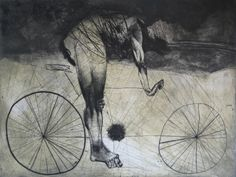 "Saatchi Online Artist: Goce Trajkovski; Etching, Printmaking ""Bicyclist"""