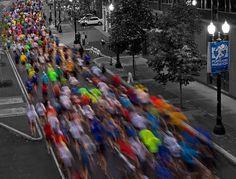 Running rainbow. First mile of the Portland Marathon