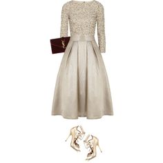 christmas's eve (1) by littlebambii on Polyvore featuring Alice + Olivia, Coast, Malone Souliers, Yves Saint Laurent, Christmas, gold, Glamour and glitter