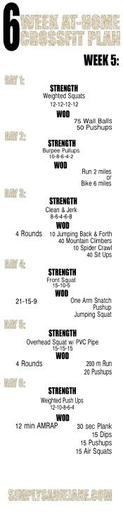 Week 5- 6 week at home crossfit style workout
