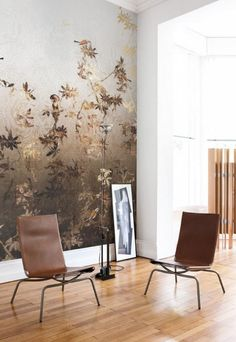 Tapeta panel ścienny z subtelnym wzorem kwiatowym w stylu japońskim