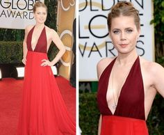 Amy Adam and deep plunging color-block dress at Golden Globe