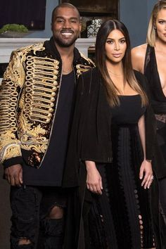 Kanye West wearing Faith Connection Destroyed Allover Jumpsuit and Balmain Fall 2016-2017 Embellished Jacket
