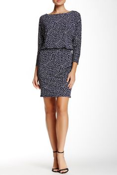 Nine West | Dot Print Blouson Dress