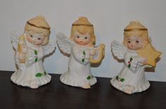 3 angel figurines Angels playing by TillieLuvsTreasures on Etsy
