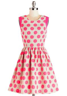 Strike Up the Band Dress - Woven, Mid-length, Pink, Tan / Cream, Polka Dots, Exposed zipper, Casual, A-line, Sleeveless
