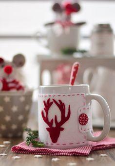 DIY - Natal - Capa de feltro para caneca