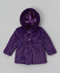 Look what I found on #zulily! Plum Tiered Faux Fur Reversible Jacket - Girls by Pistachio #zulilyfinds