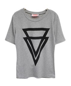 Gray Oversized Round Neckline T-shirt with Twin Triangle Print