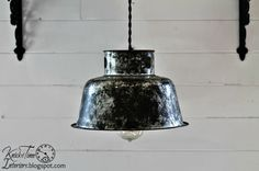 Repurposed Lamps & Lights | Knick Of Time  Antique milk can strainer