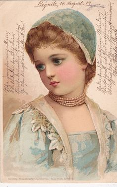Illustrated Beautiful Young Girl with Pearly Necklace Possible Early Clapsaddle...1901