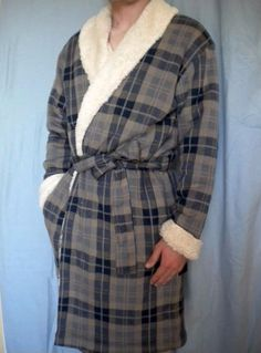 241f0a2cd6 Ugg mens manning chestnut plaid shawl collar faux fur lined robe