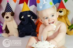 Colorful first birthday cake smash with animals