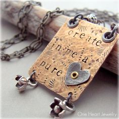 NEW Create In Me A Pure heart Mixed Metal Necklace - Hand Stamped Jewelry