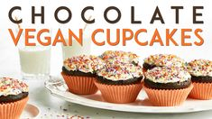 Rachel made. Fail-Proof Vegan Chocolate Cupcakes with Salted Buttercream – Oh She Glows Vegan Meal Prep, Vegetarian Recipes Dinner, Healthy Dessert Recipes, Cake Recipes, Vegan Recipes, Vegan Vegetarian, Vegan Menu, Vegan Foods, Vegan Dishes