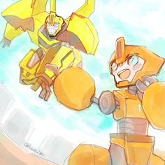 Bumblebee & Fixit.  'WOW... You are SO much stronger than I thought... ugh...'