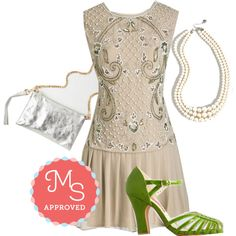 In this outfit: Cabaret of Light Dress in Champagne, And Gem What? Necklace, Lay All Your Luxe on Me Clutch, Sunporch Serenade Heel