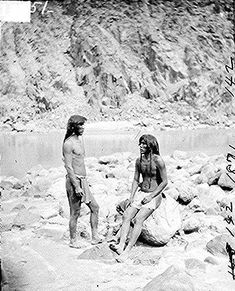 Two Mohave braves dressed in loincloths; full- length, standing, western Arizona.  Photographed by Timothy O'Sullivan, 1871.
