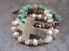 Sideways cross bracelet 'Sacrifice' dimpled cream by slashKnots