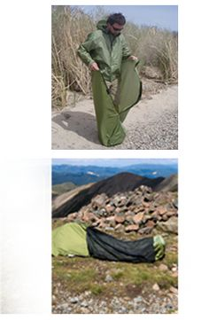 If you're one who likes to travel light, then it doesn't get any more minimal than the JakPak jacket. This sturdy jacket goes from a sleek looking windbreaker to a full body sleeping bag in just a snap. And to turn it into a tent? Simply pop the hood over your head and you've got yourself shelter.